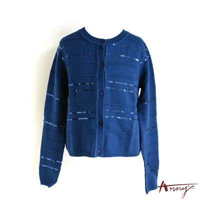 氣質圓領亮片開襟外套*1273藍