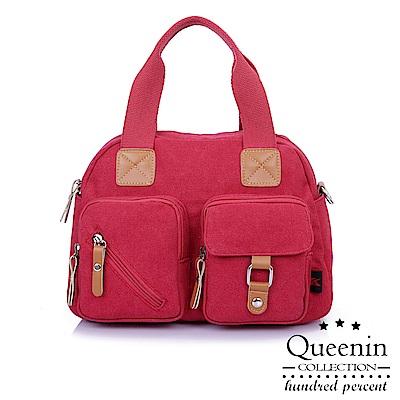 DF Queenin日韓 - 日系風尚撞色配飾多口袋帆布包-共2色