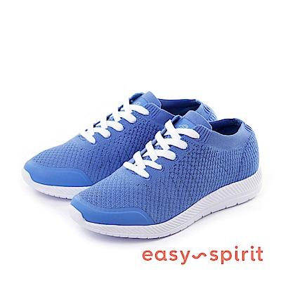 Easy Spirit--襪套式綁帶休閒走路鞋-迷人藍
