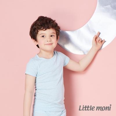 Little moni 涼感系列點點印圖兒童短袖上衣  亮天藍