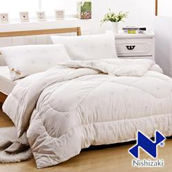西崎-淡雅蝶夢 雙人國際認證純棉印花純羊毛被3.5kg