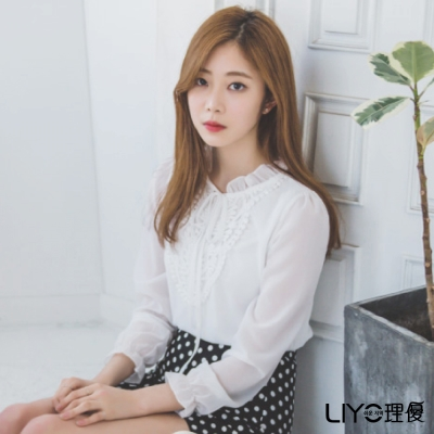LIYO理優宮廷風荷葉領雪紡衫(白)