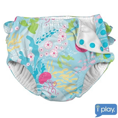 i play海洋桃色水母款寶寶泳褲