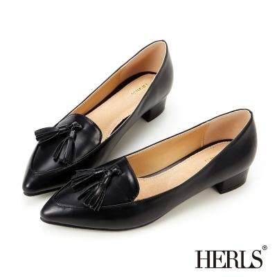 HERLS-內真皮流蘇優雅低跟鞋-黑色