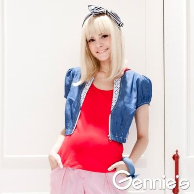 【Gennie's奇妮】韓流~牛仔蕾絲春夏孕婦小外套-藍(G3316)