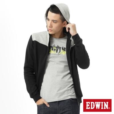 EDWIN-經典再現剪接配色連帽拉T-男款-黑色