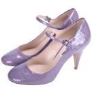 miu miu Mary Jane 鱷紋漆皮高跟鞋(粉紫色)