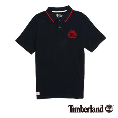 Timberland-男款深藍色胸前刺繡短袖POL