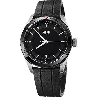 Oris豪利時 Artix GT Day~Date 單向轉圈機械錶~黑x橡膠錶帶 37mm