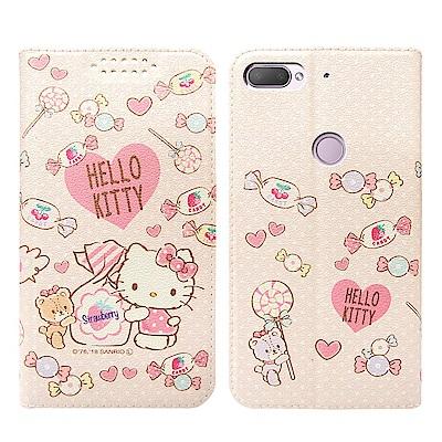 Hello Kitty貓 HTC Desire 12+ 粉嫩系列彩繪磁力皮套(軟...