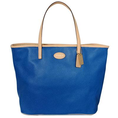 COACH藍色防刮全皮裸色圓牌肩背購物托特包