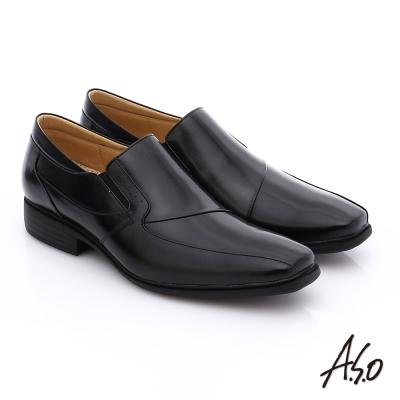 A.S.O 挺力氣墊 鏡面真皮直套式鬆緊帶奈米皮鞋 黑色