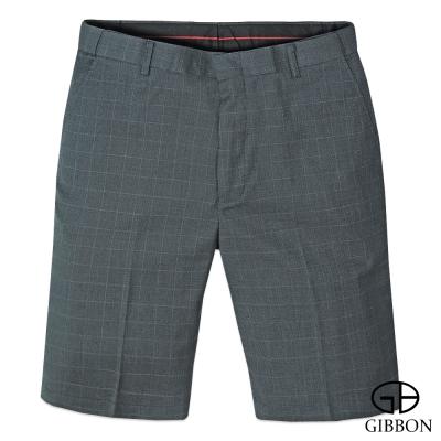 GIBBON-彈性伸縮經典紳士格紋短褲-灰色L-4