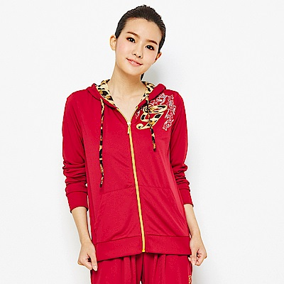 【 TOP GIRL】豹紋拼接針織連帽外套-紅色