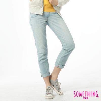 SOMETHING視覺前衛 雙腰頭印花B.F牛仔褲-女款中古藍