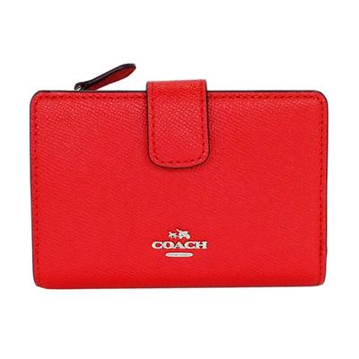 COACH紅色壓紋全皮銀字飾牌拉鍊袋中夾