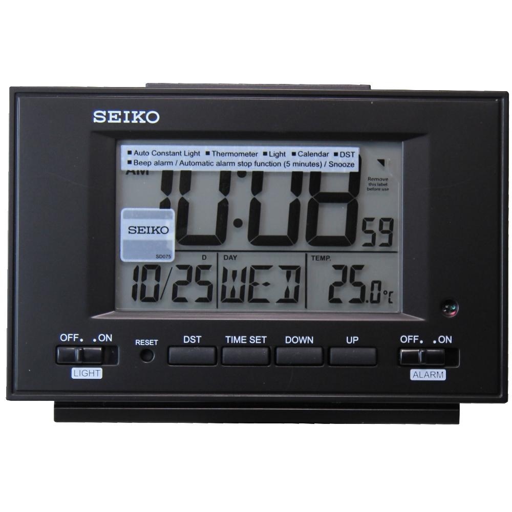 SEIKO 日本精工 電子鐘 靜音 貪睡鬧鐘(QHL075K)-黑/8.9X13.2cm