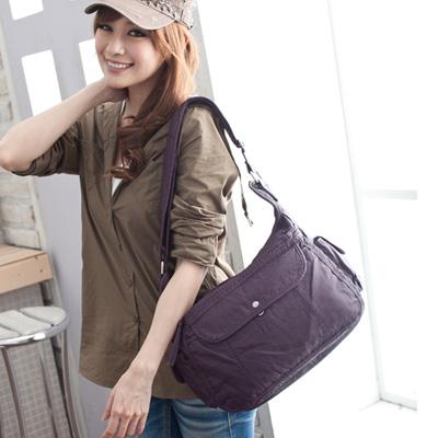 【Miyo流行包】水洗皮雅痞肩斜兩用包(紫)