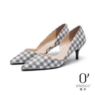 達芙妮x高圓圓 圓漾系列 高跟鞋-格紋蕾絲中跟尖頭鞋-灰