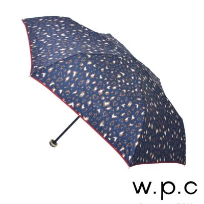 w.p.c 心型豹紋*晴雨兩用輕量防風手開三摺傘 (深藍)