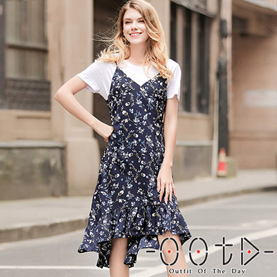 優雅碎花荷葉邊裙襬連身洋裝(共三色)-OOTD