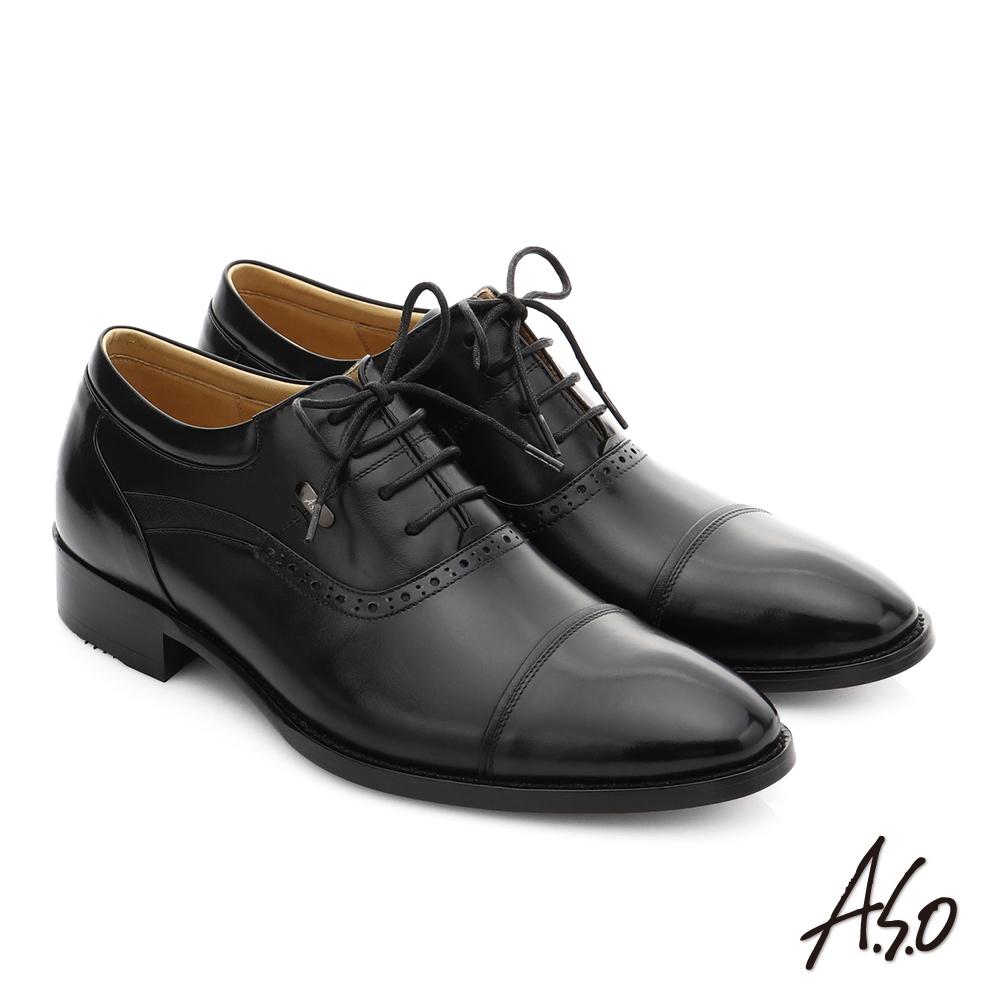A.S.O 尊榮青紳 小牛皮綁帶奈米紳士皮鞋 黑色