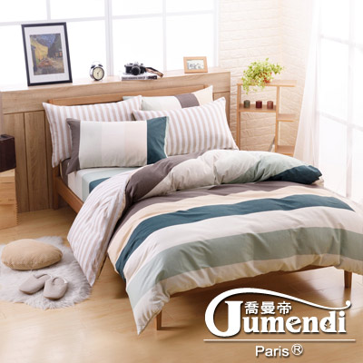 喬曼帝Jumendi-京都午後 台灣製加大四件式特級純棉床包被套組
