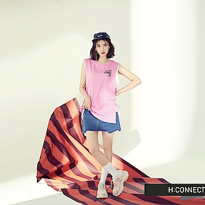 H:CONNECT 韓國品牌 女裝-側綁帶棉質背心-粉
