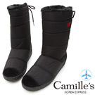 Camille's 韓國空運-正韓製-皇冠後綁帶太空中筒雪靴-黑色