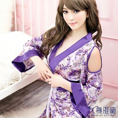 情趣睡衣 紫色柔情華麗和服 久慕雅黛