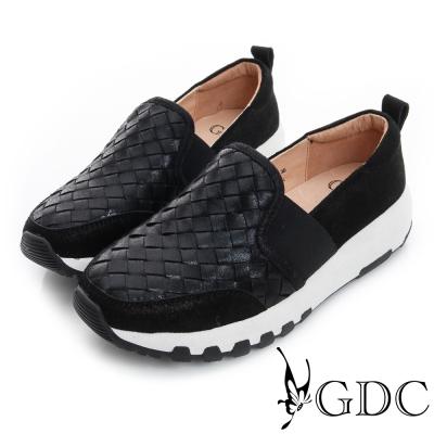 GDC舒適-真皮編織閃亮面料拼接厚底休閒鞋-黑色