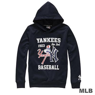 MLB-紐約洋基隊分割LOGO印花連帽長袖厚T恤-深藍 (女)