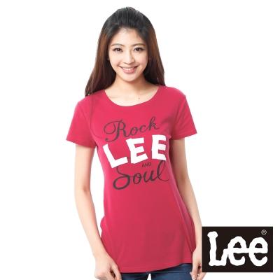 Lee 短袖T恤 白LOGO印刷 -女款(紅)