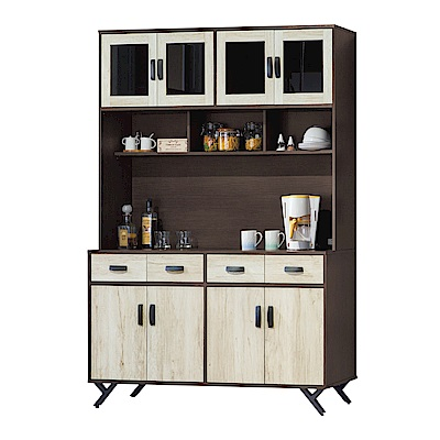 品家居 菲艾5尺雙色八門四抽餐櫃組合-150x40x203cm免組