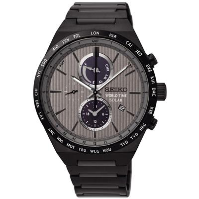 SEIKO 精工SPIRIT 太陽能兩地時間計時腕錶(SSC527J1)-灰/41mm