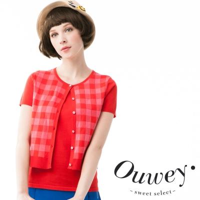 OUWEY歐薇-純棉格紋假兩件式兩用上衣-共2色