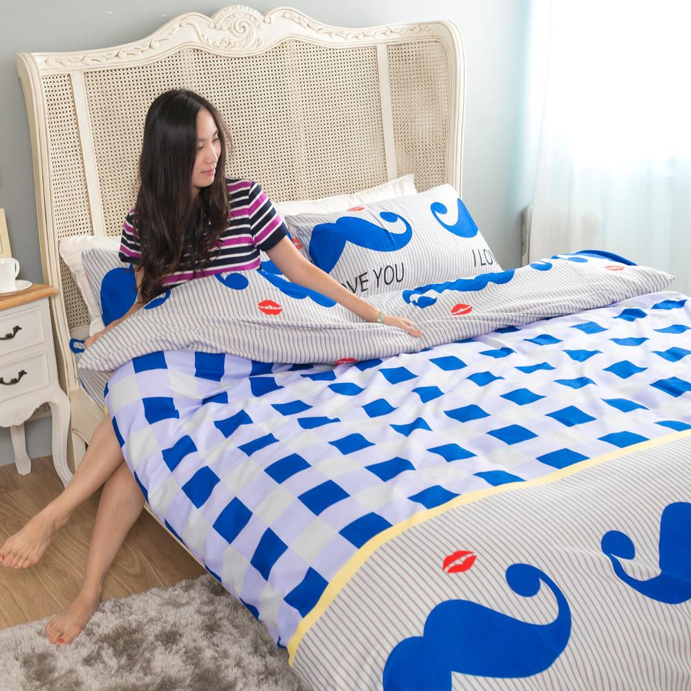 台灣製吸濕排汗系列SG 使用3M藥劑處理細緻柔絲綿 雙人床包枕套三件組 藍鬍公爵