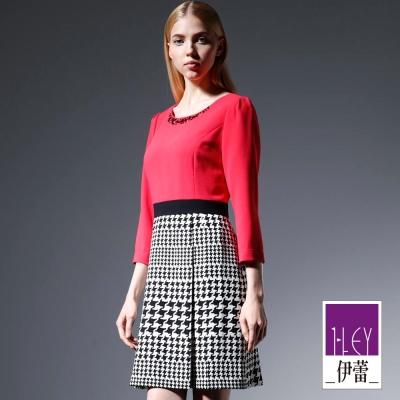 ILEY伊蕾-寶石雪紡千鳥格洋裝-紅