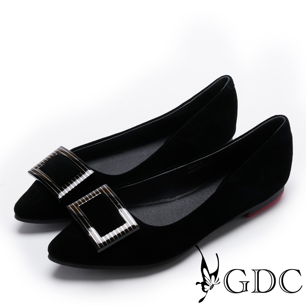 GDC-優雅羊絨斜紋方釦肩頭平底鞋-黑色