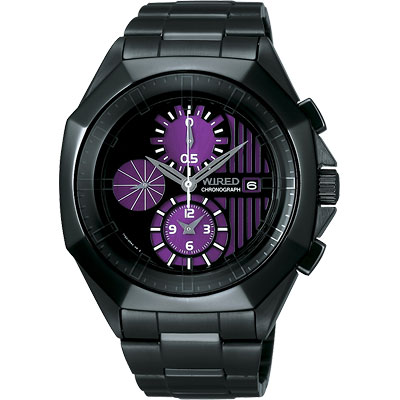 WIRED 宇宙探險家計時腕錶(AF8Q65X)-黑紫/42mm
