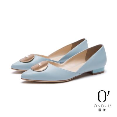 達芙妮x高圓圓-圓漾系列-平底鞋-金屬圓片珍珠鑲飾