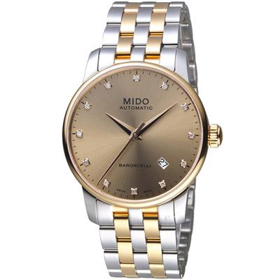 MIDO美度錶 BARONCELLI II耀眼時光腕錶-38mm/古銅x金銀色