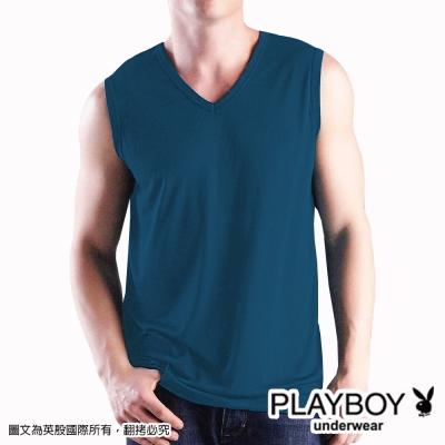 PLAYBOY 輕肌感琱絲排汗V領無袖衫