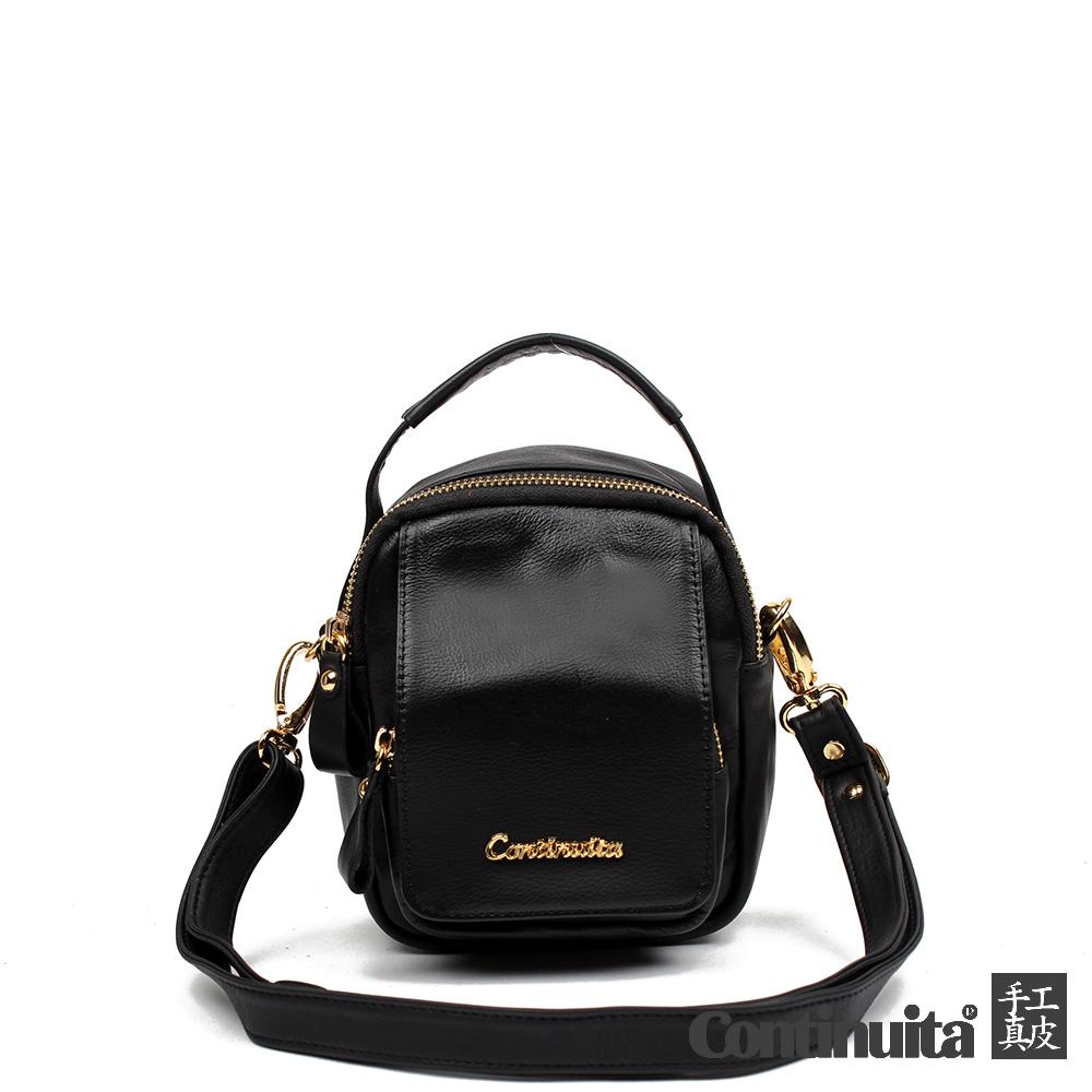 【Continuita 康緹尼】台灣手工真皮包 MIT 悠閒輕快三用包 - 黑色