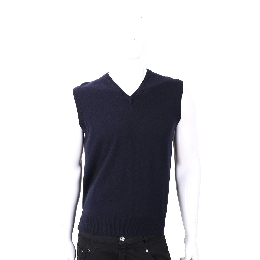 Andre Maurice 100%喀什米爾深藍色針織羊毛背心
