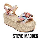 STEVE MADDEN-UNION 蝴蝶扭結麻編厚底涼鞋-花卉粉