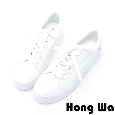 Hong Wa - 文青款超激瘦小花紋厚底小白鞋 - 白