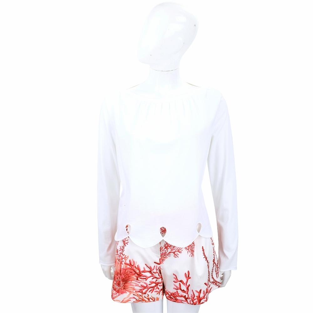 SEE BY CHLOE 白色花瓣波浪下擺設計長袖上衣