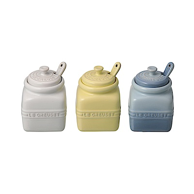 LE CREUSET 迷你瓷器醬料組 3入 (含湯匙) (雪花白/海岸藍/艾莉絲黃)