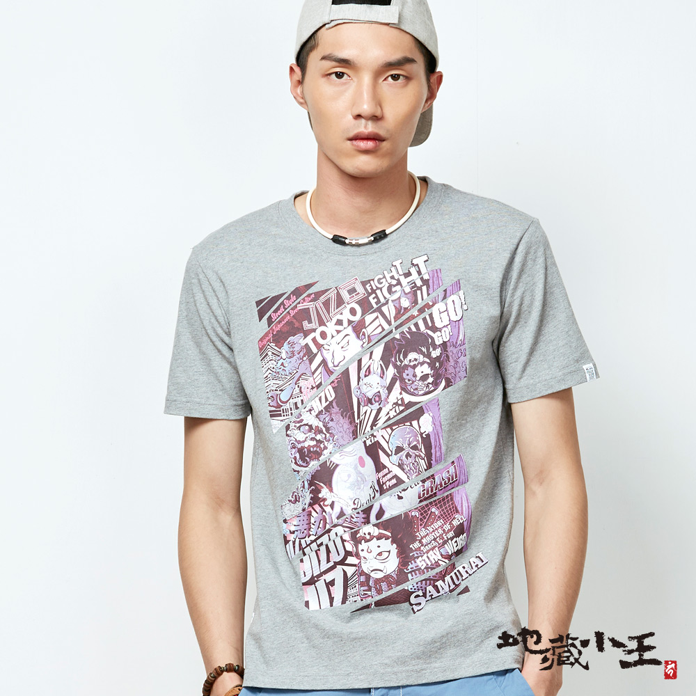 地藏小王 BLUE WAY 新春限定-江戶漫畫潮流短袖T恤-灰